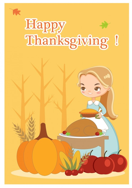 Vector of thanksgiving day card Premium Vector