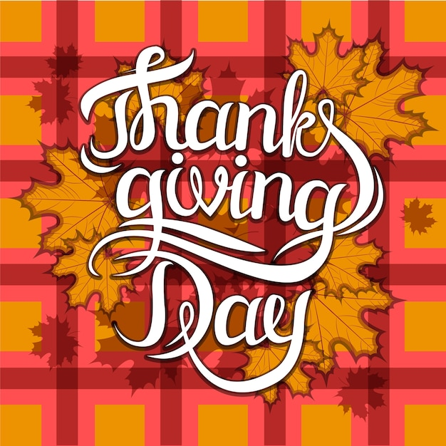 Vector thanksgiving day greeting lettering phrase Premium Vector