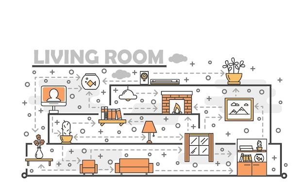ベクトル細い線アートリビングルームの図 Premiumベクター