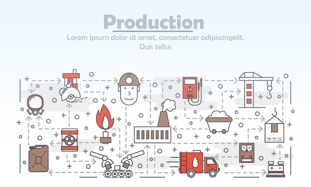 Vector thin line art production illustration Premium Vector
