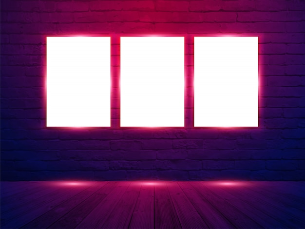Vector three poster mockup with on brick wall room background Premium Vector