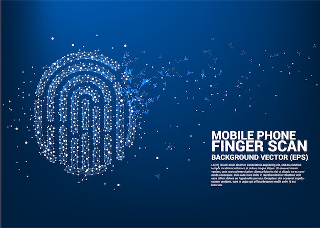 Vector thumbprint icon from dot connect line polygon Premium Vector