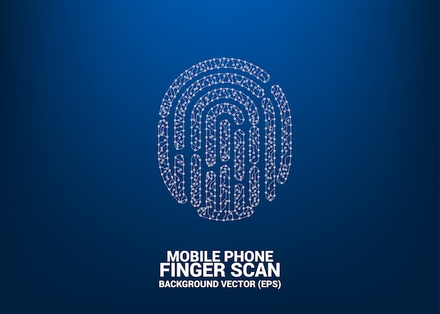 Vector thumbprint icon from dot and line circuit board style. background concept for finger scan technology and privacy access. Premium Vector