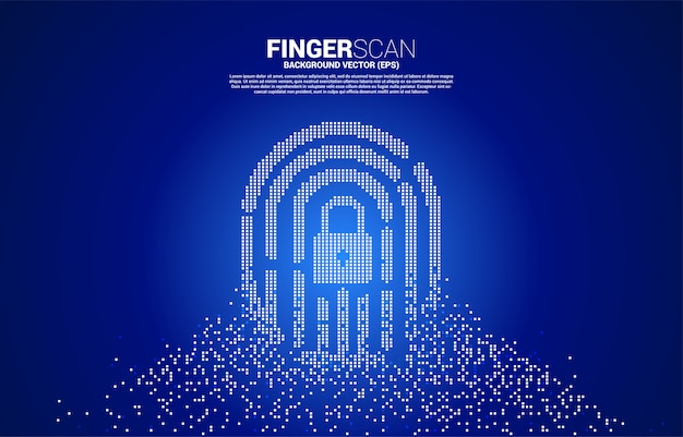 Vector thumbprint with lock pad center from pixel transformation. concept for finger scan technology and privacy access. Premium Vector
