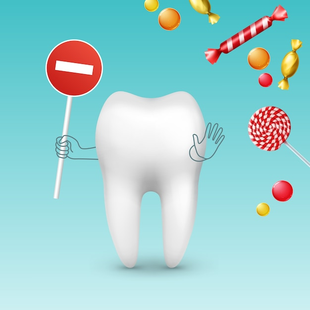 Vector tooth character with stop sign against diffrent sweets, bonbons and lollipops Free Vector