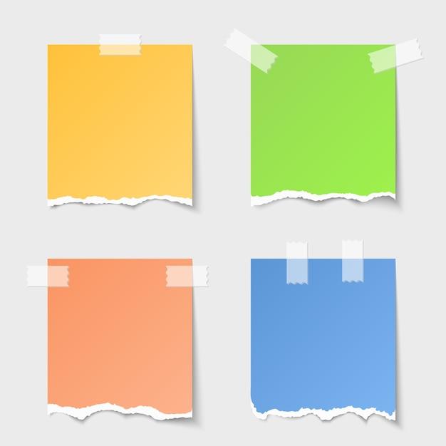 Набор векторных рваных бумажных заметок. пустое сообщение, пустой лист, напоминание о дизайне Бесплатные векторы
