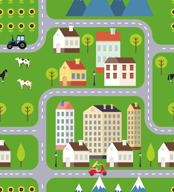 Vector town field mountain illustrazione Vettore gratuito