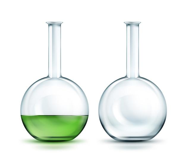 Vector trasparente vuoto e pieno fuori boccette di liquido verde isolato su sfondo Vettore gratuito