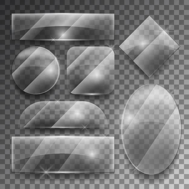 Vector transparent glass plates set. shiny frame glossy, empty shape illustration Free Vector