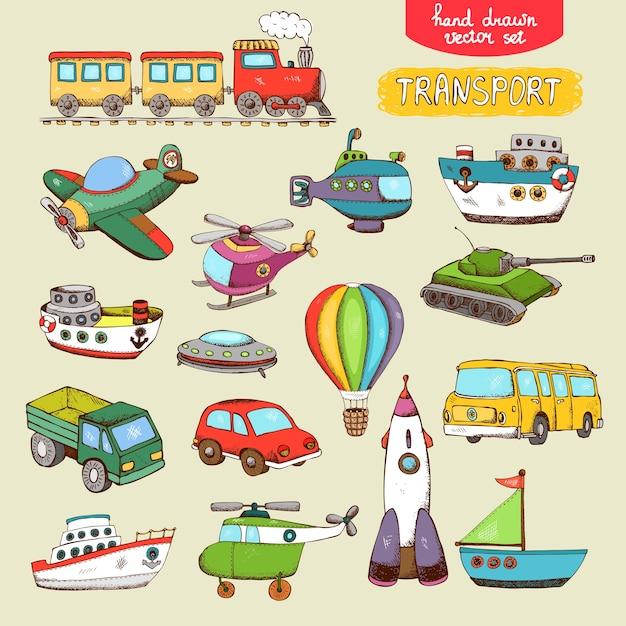 Вектор транспортных игрушек: поезд самолет автомобиль лодка Бесплатные векторы