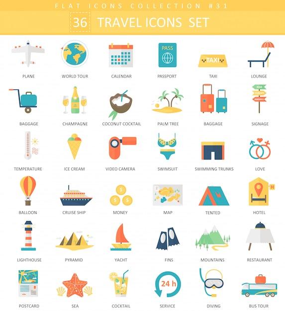 Vector travel color flat icon set. elegant style design. Premium Vector