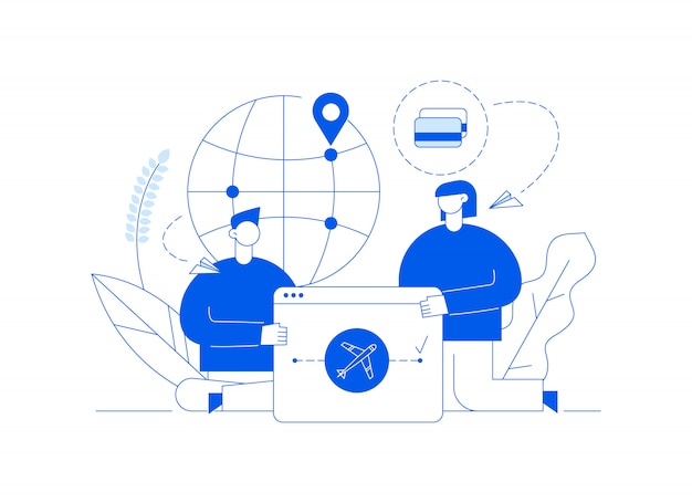Vector travel illustration with big modern people, man and woman traveling around the world. Premium Vector