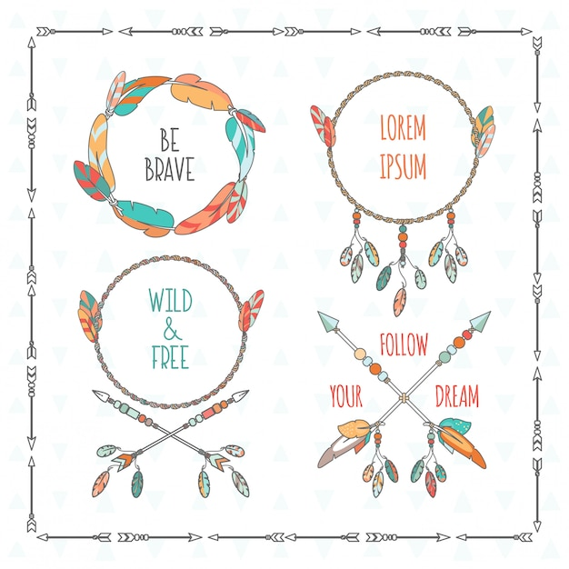 Vector tribal boho style frames with inspirational quotes Premium Vector