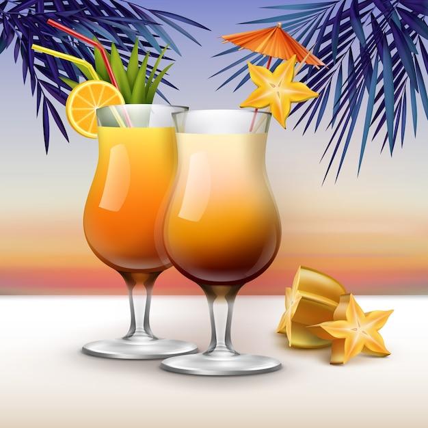 スターフルーツ、オレンジスライス、赤、黄色のストローチューブ、ヤシの葉と夕日の背景にピンクの傘を添えてベクトルトロピカルカクテル Premiumベクター