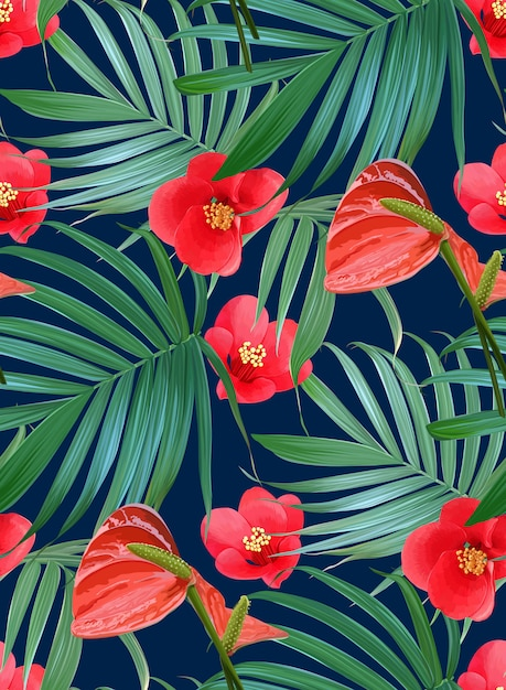 Vector tropical flowers and palm leaves seamless pattern. Premium Vector