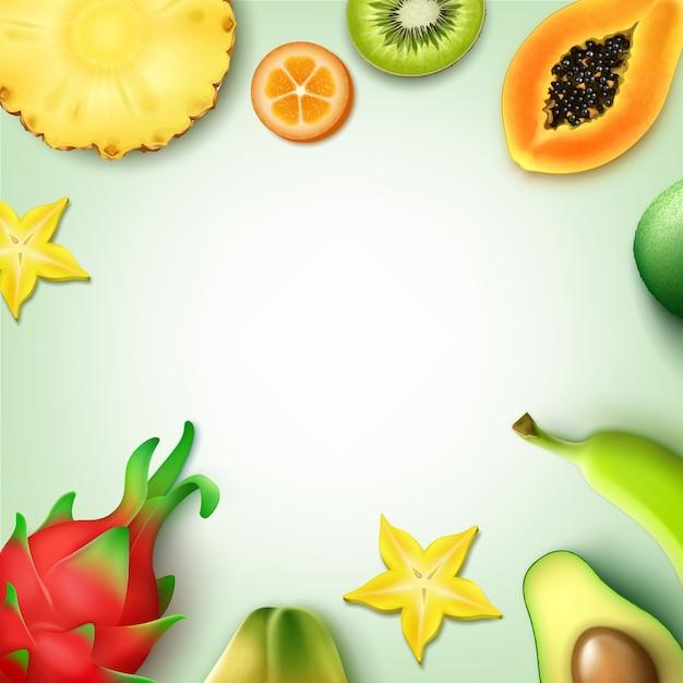 Векторный фон тропических фруктов с copyspace целиком и наполовину нарезанный ананас, киви, папайя, банан, карамбола, кумкват, драконий фрукт, вид сверху авокадо Premium векторы