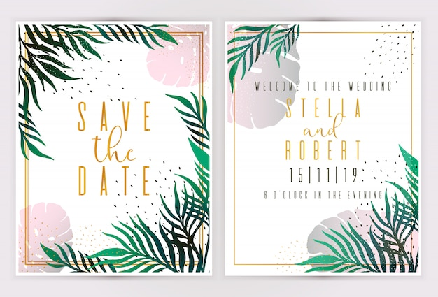 Vector tropical leaves summer banners on white background invitation. Premium Vector