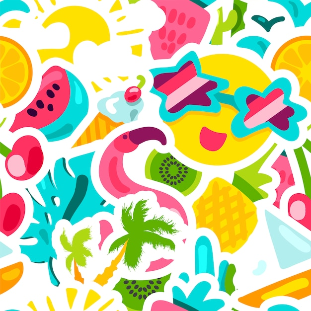 Vector tropical summer seamless pattern Premium Vector