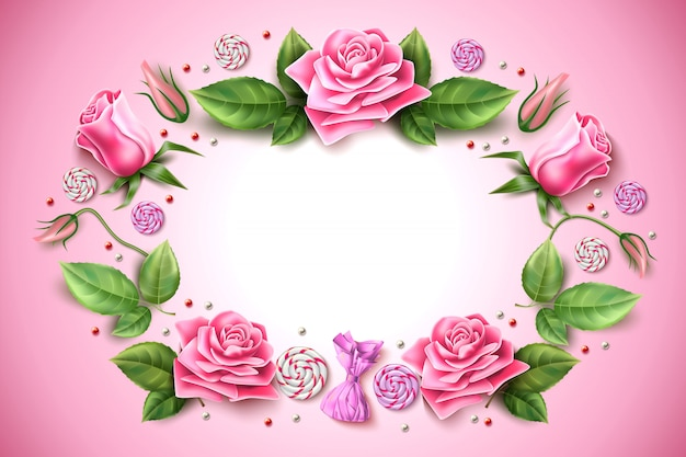 Vector tulip rose peony flower frame on pink Premium Vector
