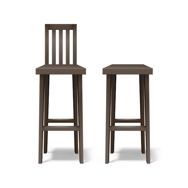 Vector two dark brown wooden bar stools front view isolated on white background Free Vector