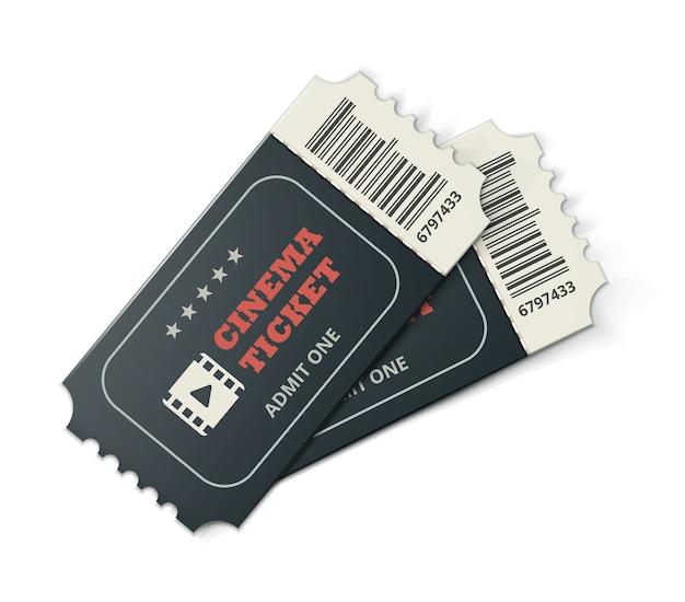 Вектор два разработан билеты в кино крупным планом вид сверху, изолированные на белом фоне Бесплатные векторы