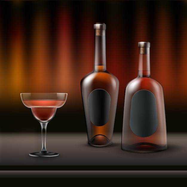 Vector two full alcohol bottles and coctail glass on bar counter with dark brown, red background Free Vector