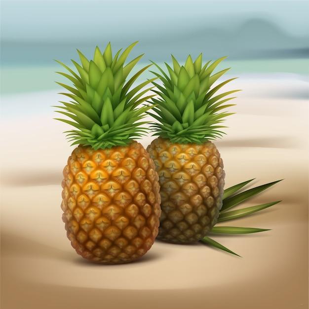 Vector due ananas con foglia di palma verde isolato su sfocatura dello sfondo al mare Vettore gratuito
