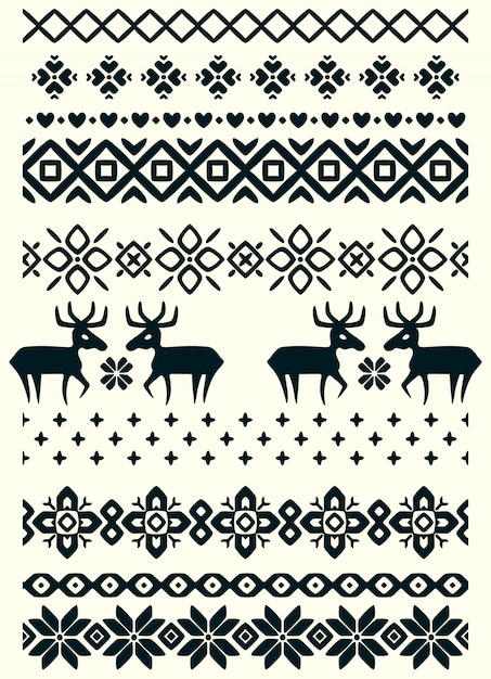 Vector ugly sweater seamless borders Premium Vector