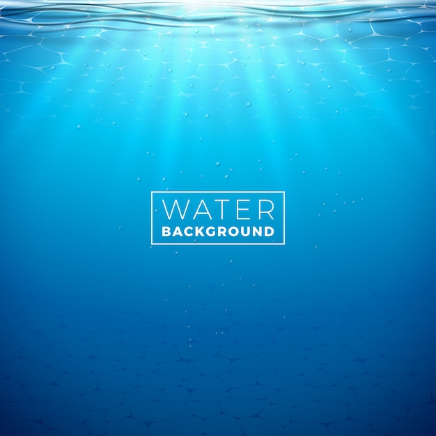 Vector underwater blue ocean background design template Premium Vector