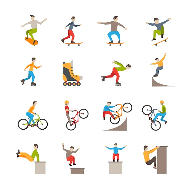 Vector urban sport  icons with people Free Vector