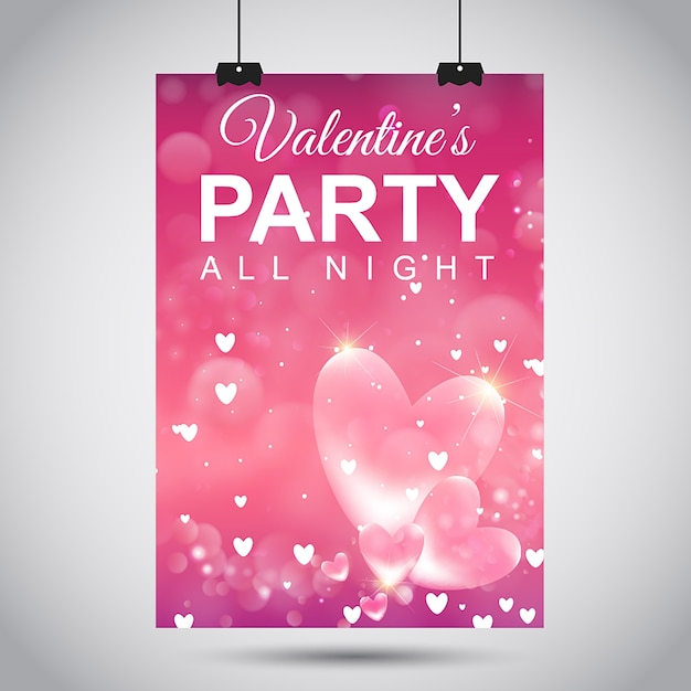 Vector valentine's party poster Free Vector