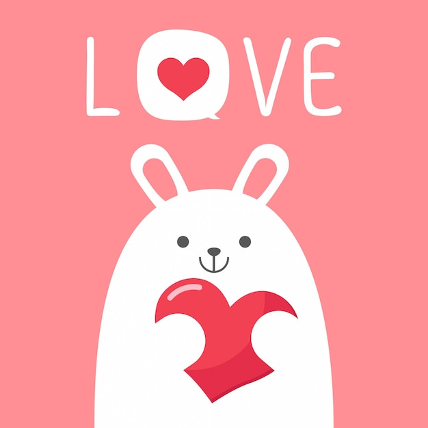 Vector valentineâ´s day card with rabbit bunny Premium Vector