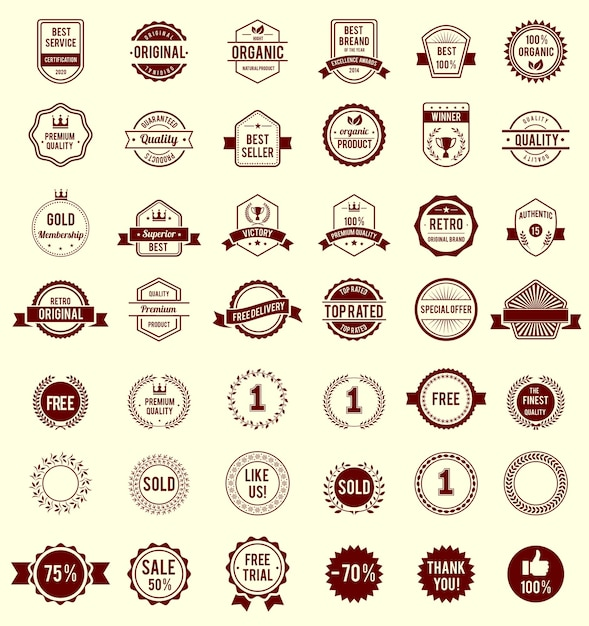 Vector variety design maroon retro vintage badges isolated Free Vector