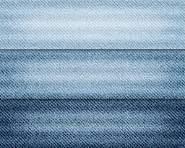 Vector various blue colour jeans backgrounds set. Premium Vector