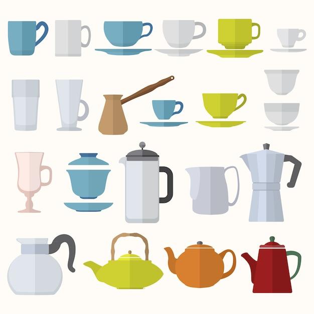 Vector various color flat design coffee tea cups and pots set Premium Vector