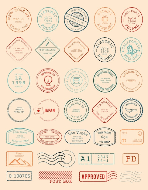 Vector of various stamp design Free Vector