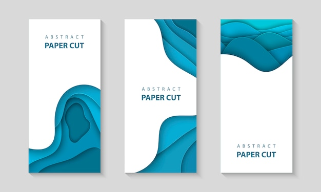 Vector vertical flyers with blue paper cut shapes Premium Vector