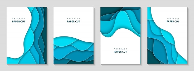 Vector vertical flyers with blue paper cut waves Premium Vector