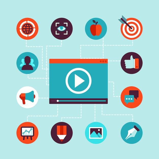 Vector video marketing concept in flat style Premium Vector