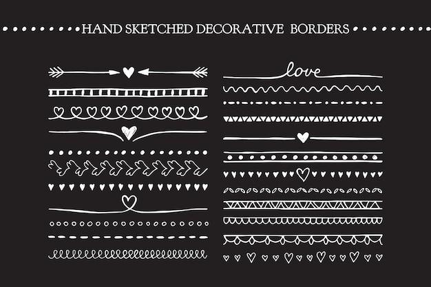 Vector vintage borders and scroll elements. hand drawn vector design elements Premium Vector