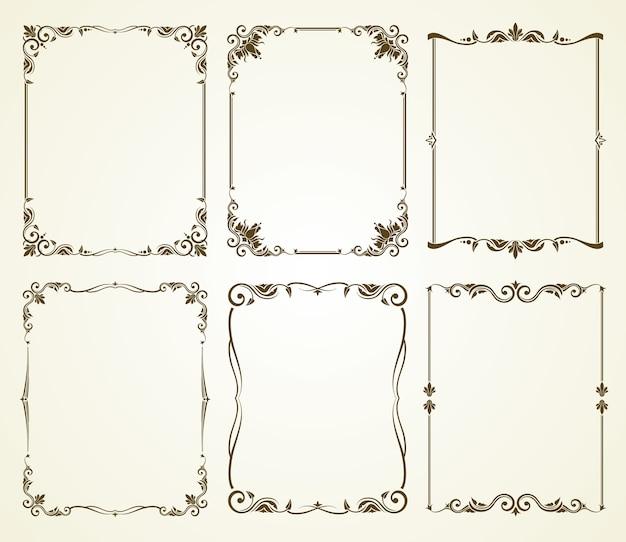 Набор векторных старинных каллиграфических кадров Premium векторы