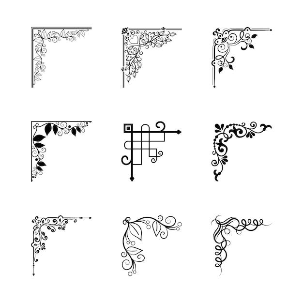 Vector vintage angoli elementi per cornici per la decorazione della pagina Vettore gratuito