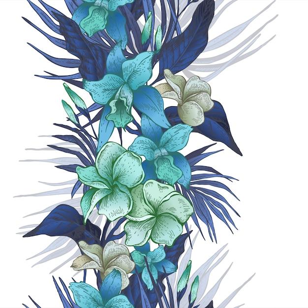 ベクトルヴィンテージ花柄熱帯シームレスパターン Premiumベクター