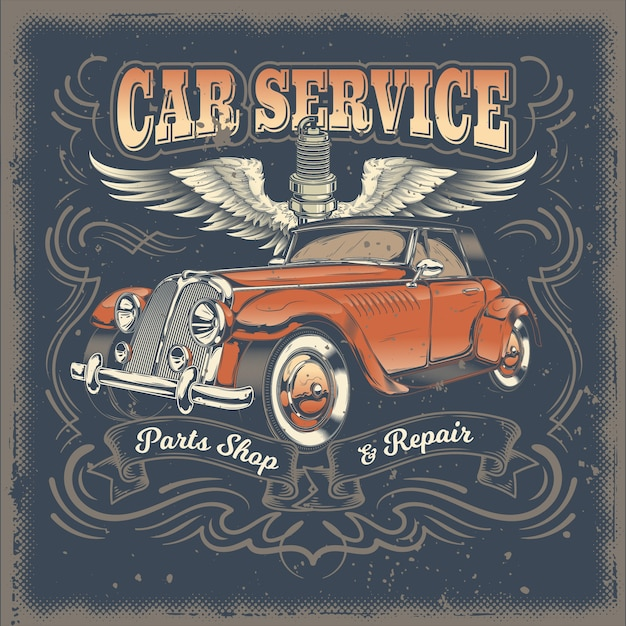 vector vintage illustration poster with of red retro car