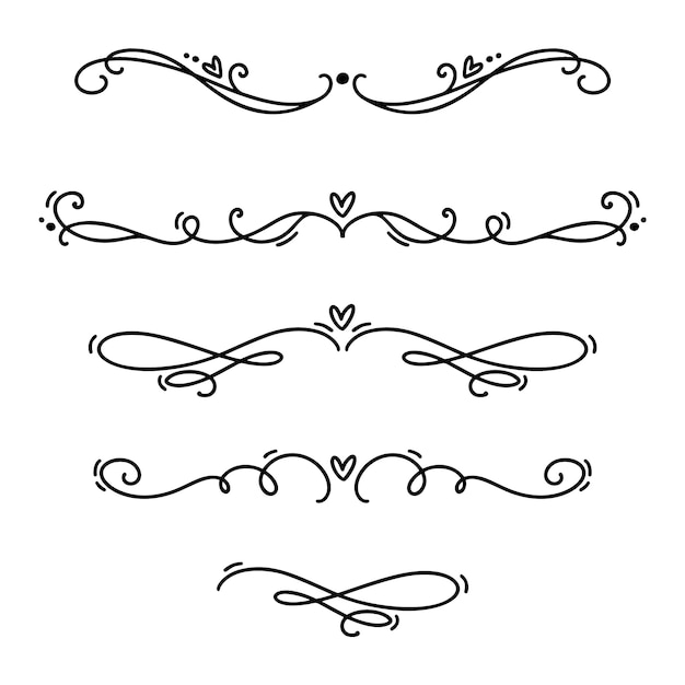 Vector vintage line elegant valentine dividers and separators, swirls and corners decorative ornaments. Premium Vector