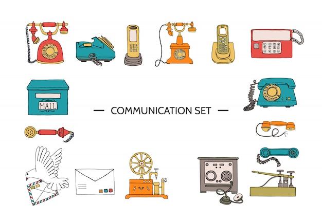Vector vintage means of communication set. Premium Vector