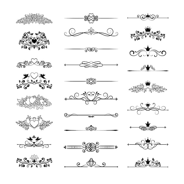Vector vintage page decor with crowns, arrows and floral elements Free Vector