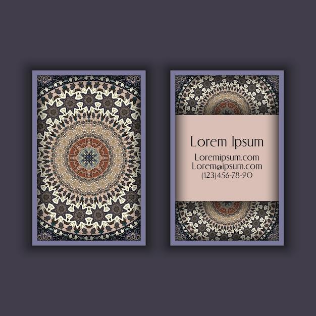 Vector vintage visiting card set. floral mandala pattern and ornaments. Premium Vector
