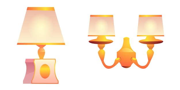Vector vintage wall and table lamps with lampshade Free Vector