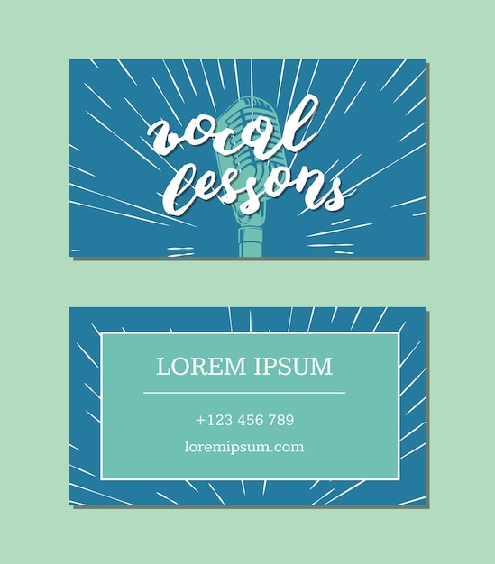 Vector vocal lessons business card with lettering and microphone on retro sunburst background. card music vocal lesson illustration Premium Vector